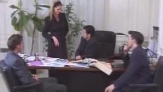 French Secretary Fucks her 3 Bosses!